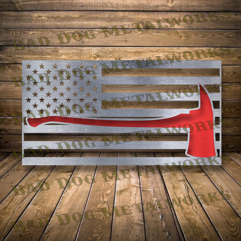 Fireman Redline Axe Flag - Dxf and Svg