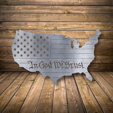 Load image into Gallery viewer, In God We Trust U.S. Outline Metal Art - Patriotic Home Decor