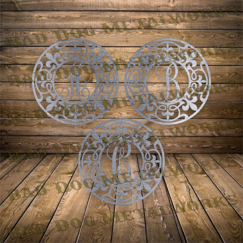 Round Fleur-De-Lis Monograms - Dxf and Svg