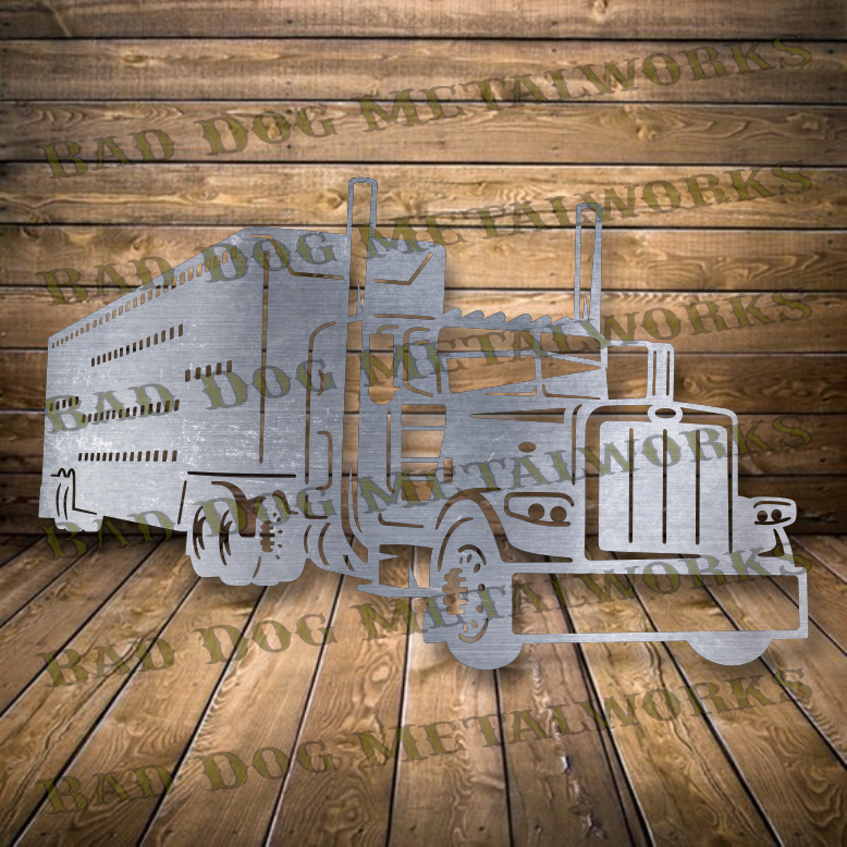 Bull Hauler Tractor Trailer Semi - Dxf and Svg