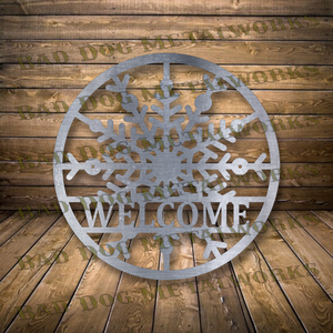 Snowflake Welcome Monogram - Dxf and Svg