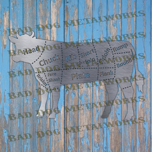 Beef Cuts Butcher's Diagram - DXF and SVG