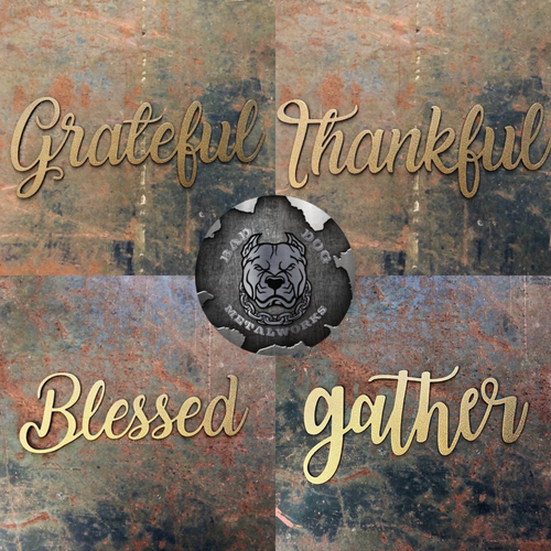 Gather, Blessed, Thankful, and Grateful Script - 4 Piece Metal Home Decor