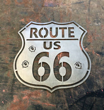 Load image into Gallery viewer, Route 66 Interstate Sign With Bullet Holes