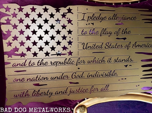 Pledge of Allegiance Tattered Flag - Metal Patriotic Decor