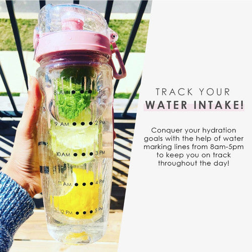 32oz Infuser Bottle-Time Marks & Insulation Sleeve |SPORTS WATER BOTTLE | BOTTLE | DRINKWARE | DRINKREMINDER | FRUITINFUSER | GIFT - Nohprec Experience
