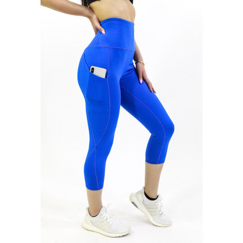 Seajoy High Waisted Capri Leggings / Leggings With Pockets / Workout Leggings / Blue Leggings - Nohprec Experience