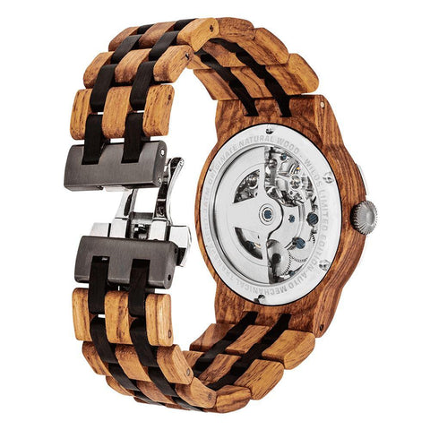 Image of Men's Dual Wheel Automatic Ambila Wood Watch - 2019 Most Popular wooden watches Wilds Wood