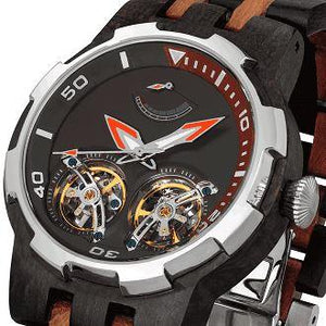 Men's Dual Wheel Automatic Ebony & Rosewood Watch - For High End Watch Collectors
