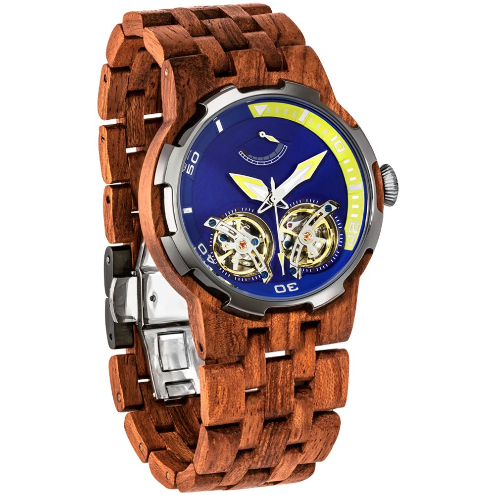 Men's Dual Wheel Automatic Kosso Wood Watch - For High End Watch Collectors wooden watches Wilds Wood