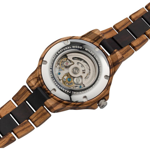 Image of Men's Genuine Automatic Zebra & Ebony Wooden Watches No Battery Needed wooden watches Wilds Wood