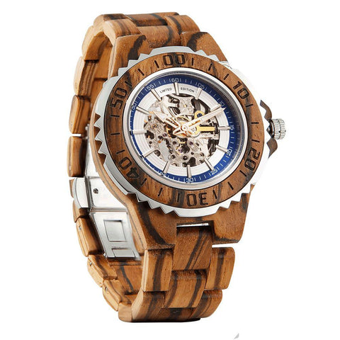 Image of Men's Genuine Automatic Zebra Wooden Watches No Battery Needed wooden watches Wilds Wood