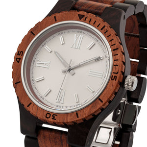 Men's Handcrafted Engraving Ebony & Kosso Wood Watch - Best Gift Idea!