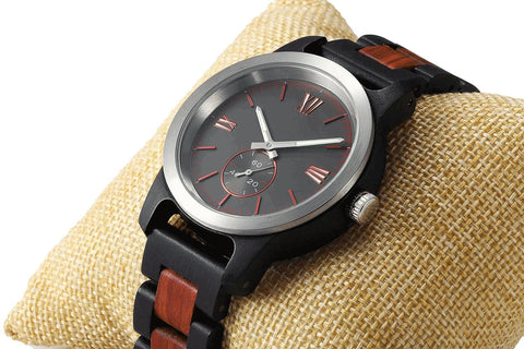 Image of Men's Handcrafted Engraving Ebony & Rose Wood Watch - Best Gift Idea! wooden watches Wilds Wood