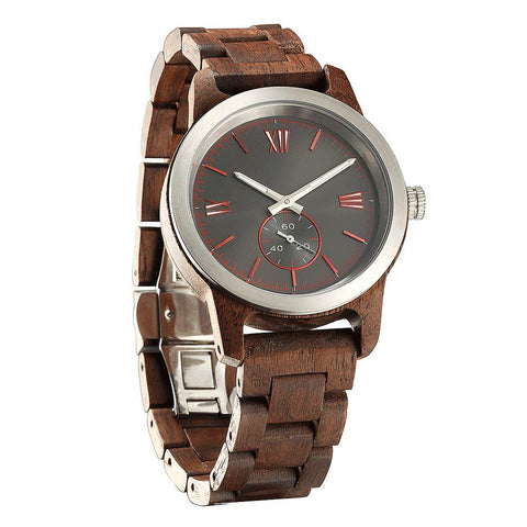Image of Men's Handcrafted Engraving Walnut Wood Watch - Best Gift Idea! wooden watches Wilds Wood