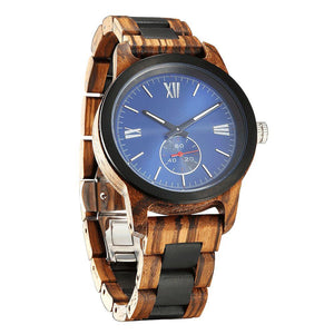 Men's Handcrafted Engraving Zebra Ebony Wood Watch - Best Gift Idea! wooden watches Wilds Wood