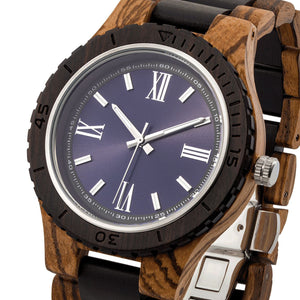 Men's Handcrafted Engraving Zebra & Ebony Wood Watch - Best Gift Idea!