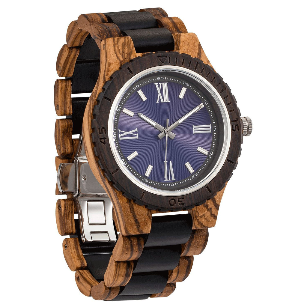 Men's Handcrafted Engraving Zebra & Ebony Wood Watch - Best Gift Idea! wooden watches Wilds Wood