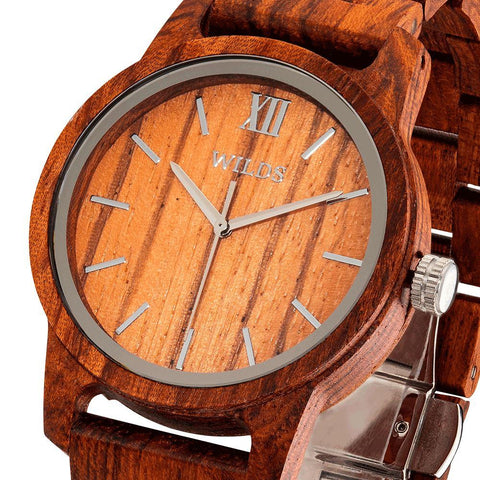 Men's Handmade Engraved Kosso Wooden Timepiece - Personal Message on the Watch wooden watches Wilds Wood