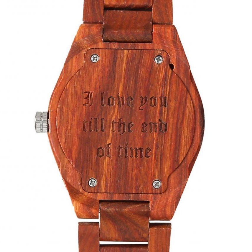 Men's Personalized Engrave Rose Wood Watches - Free Custom Engraving wooden watches Wilds Wood