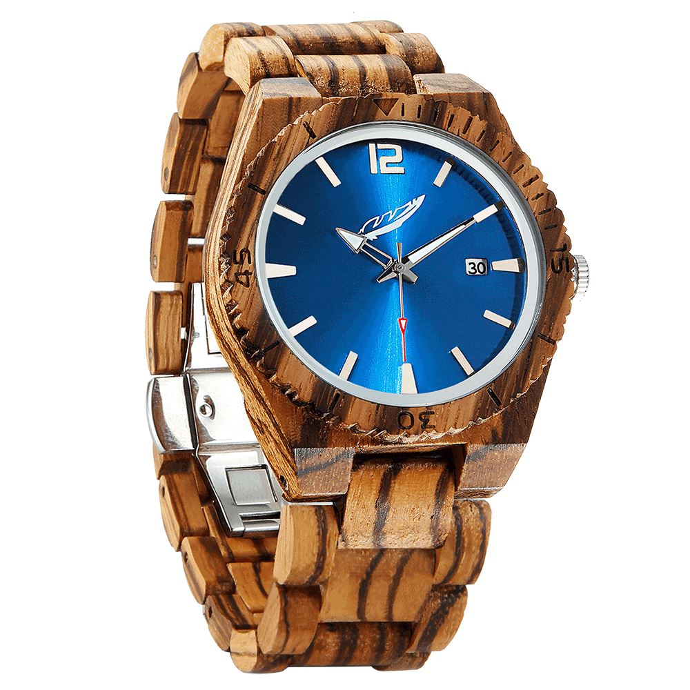 Men's Personalized Engrave Zebrawood Watches - Free Custom Engraving wooden watches Wilds Wood