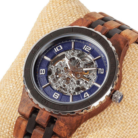 Image of Men's Premium Self-Winding Transparent Body Ambila Ebony Wood Watches wooden watches Wilds Wood