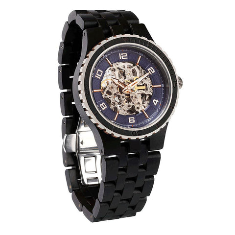 Men's Premium Self-Winding Transparent Body Ebony Black Wood Watches wooden watches Wilds Wood