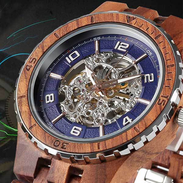 Men's Premium Self-Winding Transparent Body Kosso Wood Watches wooden watches Wilds Wood