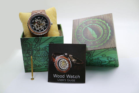 Men's Premium Self-Winding Transparent Body Walnut Wood Watches wooden watches Wilds Wood