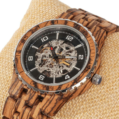 Image of Men's Premium Self-Winding Transparent Body Zebra Wood Watches wooden watches Wilds Wood