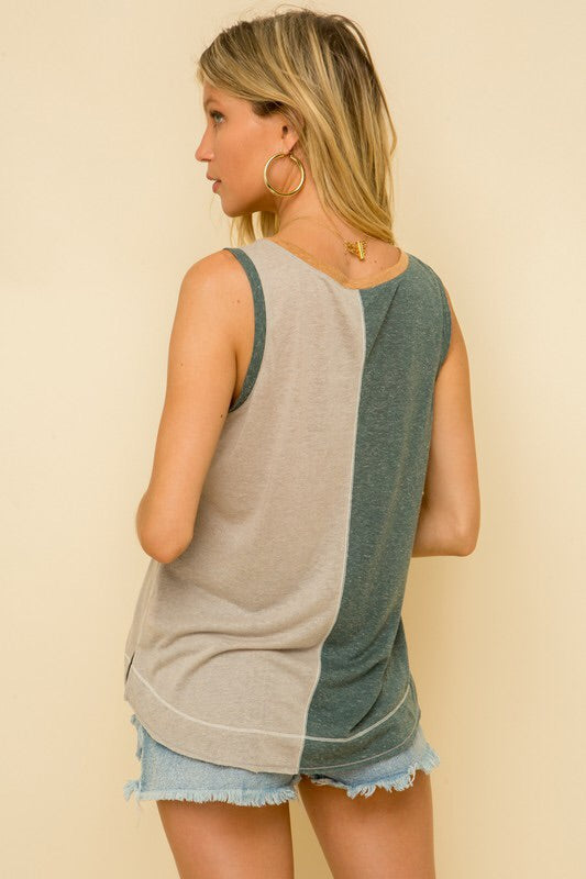 Colorblock Pocket Tank-Top-Style Trolley