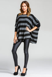 The Jen Striped Poncho Top-Sweater-Style Trolley
