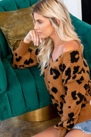 Lindsay Leopard V-Neck Sweater