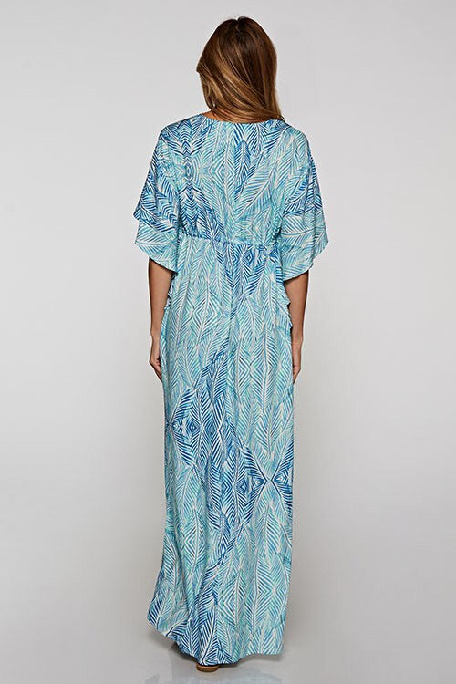 Palm Leaf Print Maxi Dress-Dress-Style Trolley