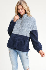 Two tone fuzzy pullover (Navy)-Outerwear-Style Trolley