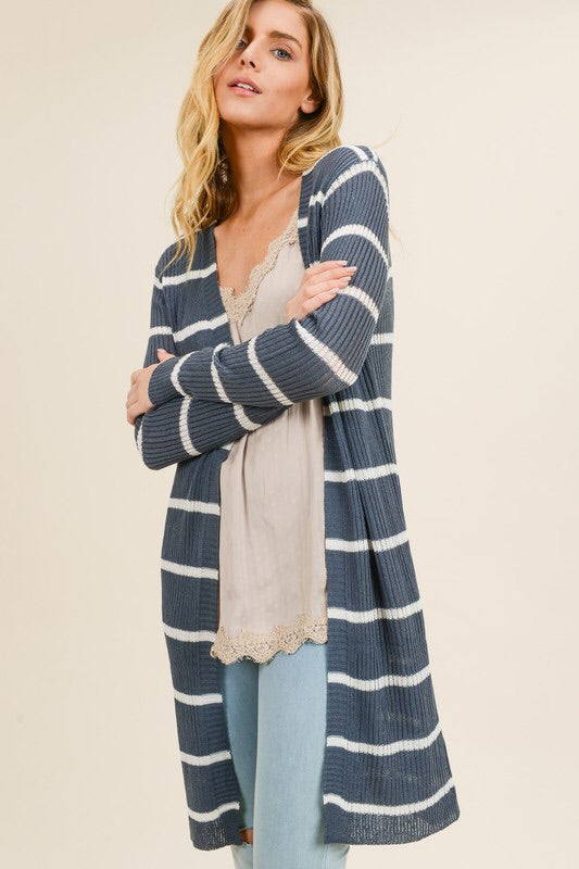 Charcoal Striped Cardigan-Sweater-Style Trolley