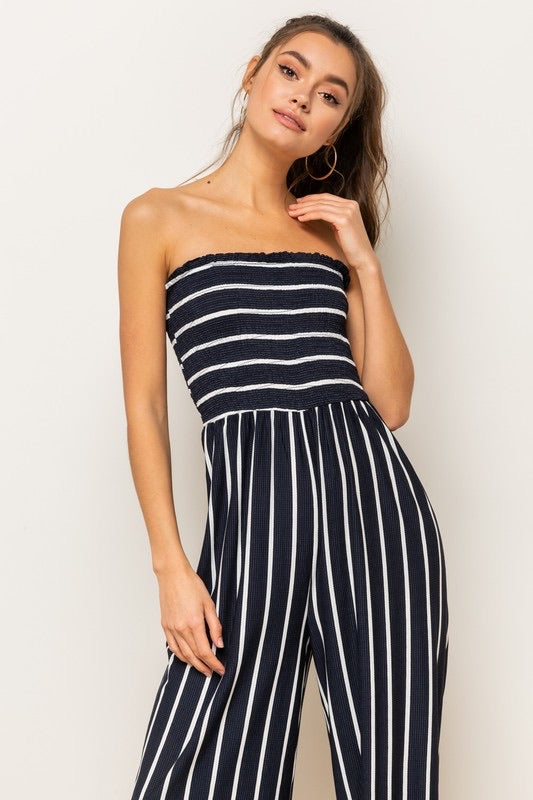 Annabelle Smocked Striped Jumpsuit