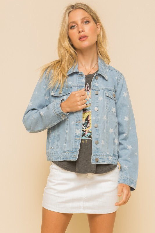 Sienna Star Print Denim Jacket-Jacket-Style Trolley