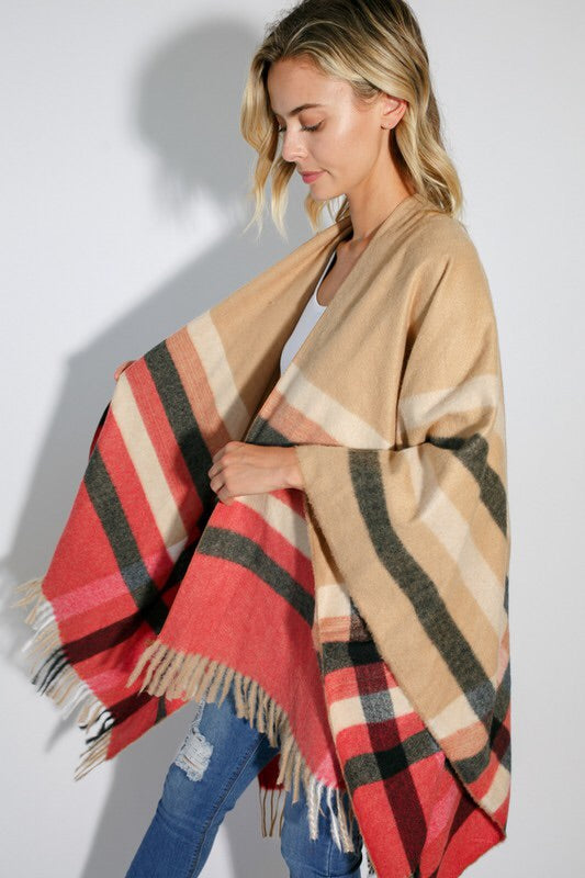 The Erin Plaid Poncho-Scarves-Style Trolley