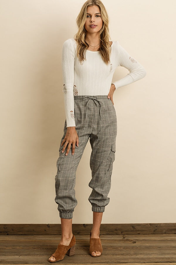 High Waisted Plaid Joggers-Bottoms-Style Trolley