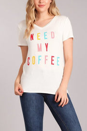 Need My Coffee V-Neck Tee-T-shirt-Style Trolley