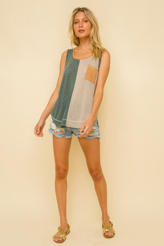 Color-block Pocket Tank (June Arrival)-Style Trolley
