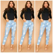 Star Print Skinny Denim-Bottoms-Style Trolley