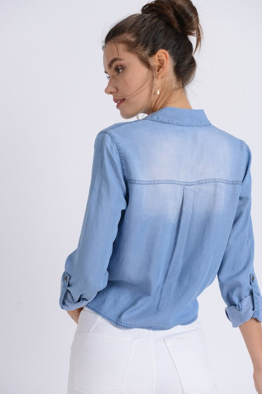 Astrid Chambray Shirt-Top-Style Trolley