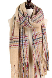Brushed Plaid Scarf-Scarves-Style Trolley