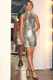 The Amelie Sequin Halter Dress-Dress-Style Trolley