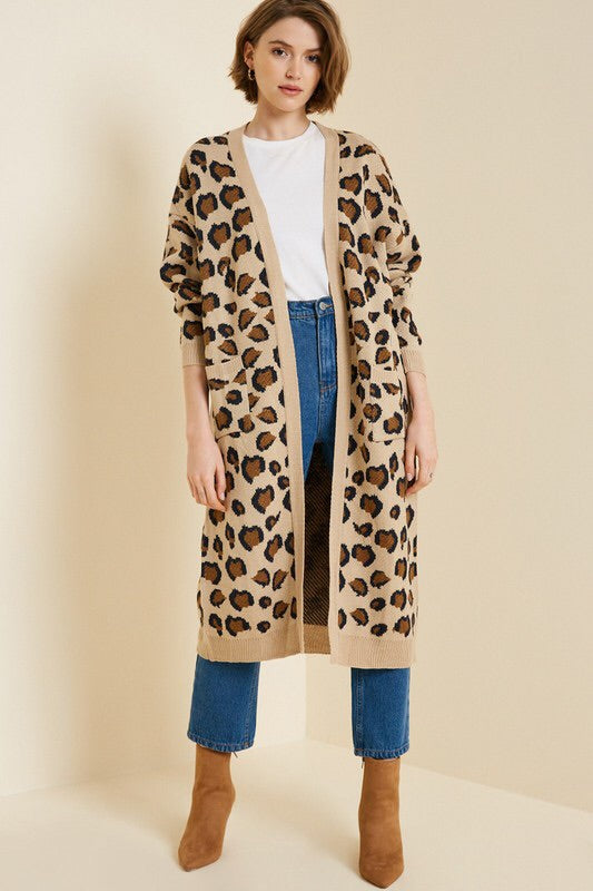 Zoe Leopard Knit Duster-Sweater-Style Trolley
