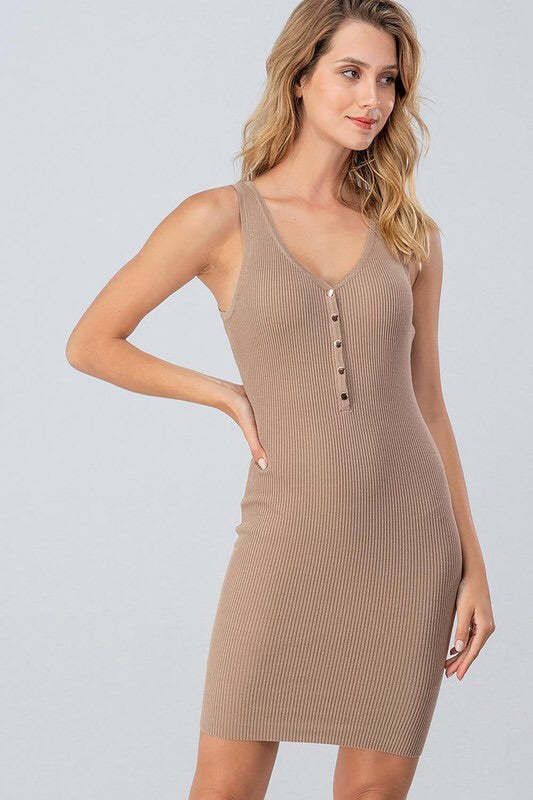The Ariana Ribbed Tank Dress-Dress-Style Trolley