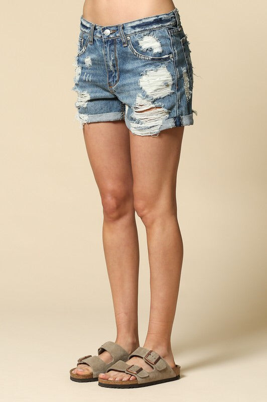 Lauren Mid-rise Distressed Boyfriend Shorts-Bottoms-Style Trolley