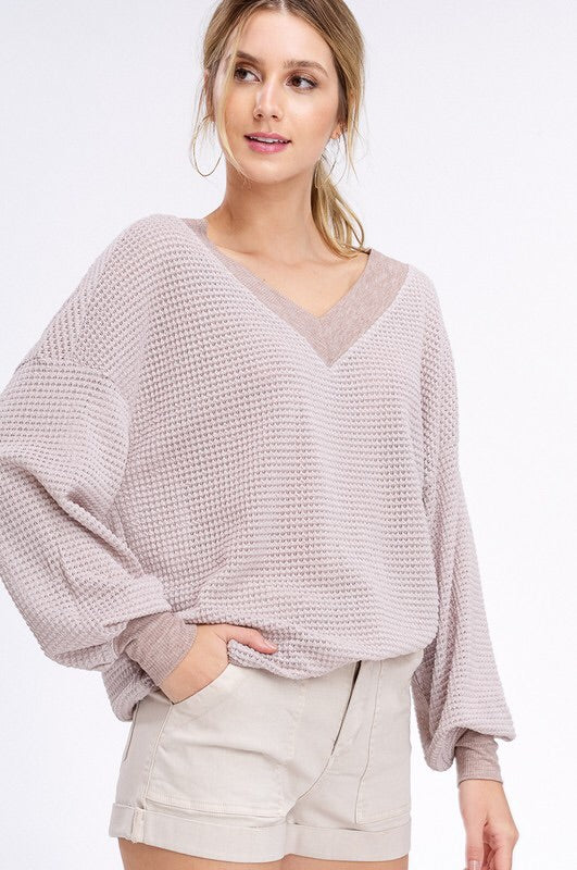 Waffle texture v-neck top-Top-Style Trolley